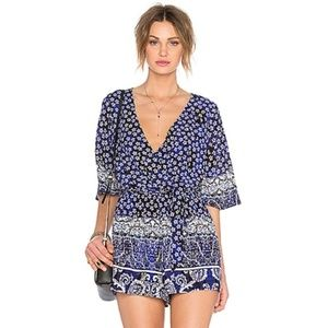 Lovers + Friends Isabella Romper Royal Scarf